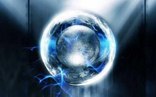 Обои Шар в шаре с электрическими разрядами