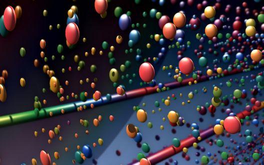 Обои Разноцветные шарики среди разноцветного бамбука