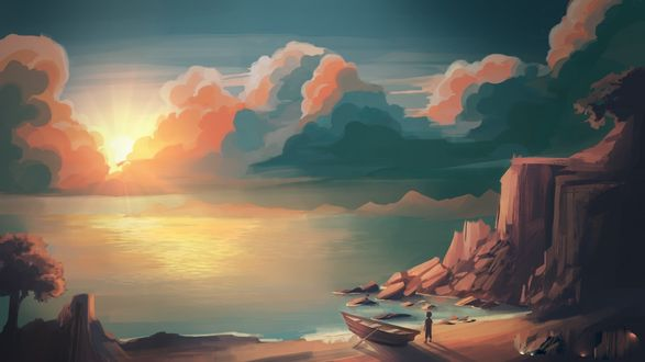Обои Мальчик стоит рядом с лодкой на берегу, by jessicawoulfe