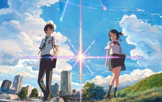 Обои Tachibana Taki / Таки Татибана и Miyamizu Mitsuha / Мицуха Миямидзу персонажи из аниме Kimi no Na wa / Your Name / Твое имя, by Shinkai Makoto