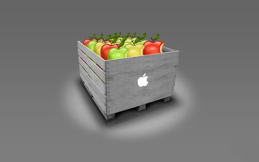 Обои Разноцветные надкушенные яблоки, логотип компании Apple, сложены в ящик с нарисованным надкушенным яблоком