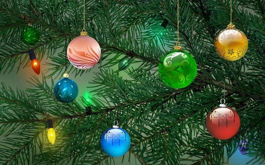 Обои Новогодняя елка, украшенная шариками и гирляндой.(Картинка из детства- когда лежишь под елкой и смотришь как мигают огоньки.)