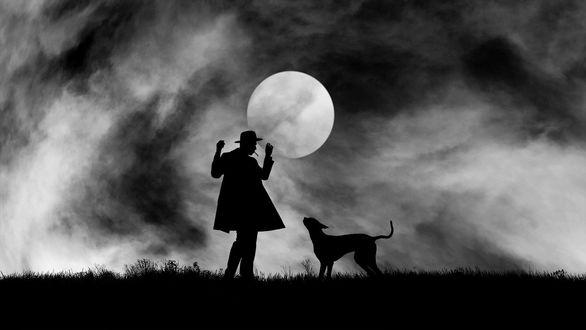 Обои Силуэт парня с собакой на фоне ночного неба с луной, фотограф Hengki Lee