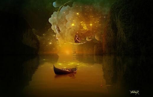 Обои Мужчина забрался на месяц по веревочной лестнице из лодки для волшебной рыбалки среди сияющих звезд, by Hedimir