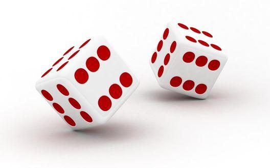 Обои Игральные кубики на белом фоне