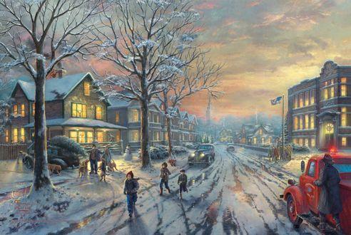 Обои Город перед Рождеством