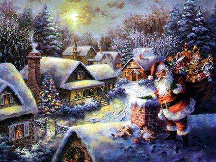 Обои Санта Клаус несет подарки в деревню