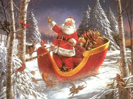 Обои Санта Клаус едет на санях по зимнему лесу