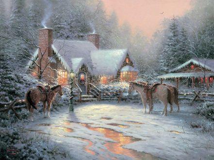 Обои Лошади стоят возле дома в Новый год