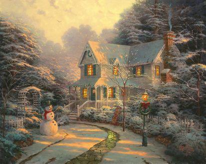Обои Дом в лесу перед Рождеством