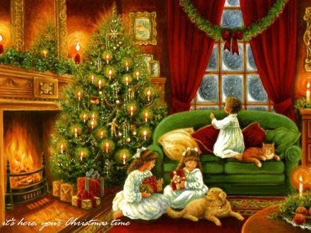 Обои Дети ждут Рождества у елки с подарками и собакой (Its here, your Christmas time)