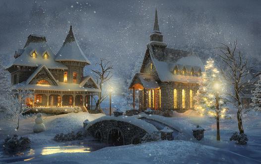 Обои Церковь и дом зимой перед Рождеством возле реки