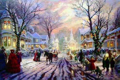 Обои Рождественские гулянья в городе вечером