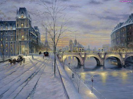 Обои Зима в Париже / Paris, Франция / France вечером