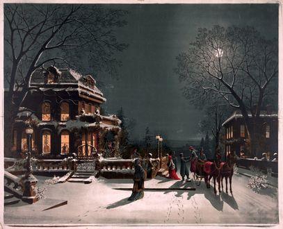 Обои Люди приехали на Рождество под Луной