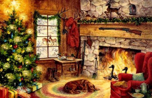 Обои Собака спит у камина возле елки в Рождество