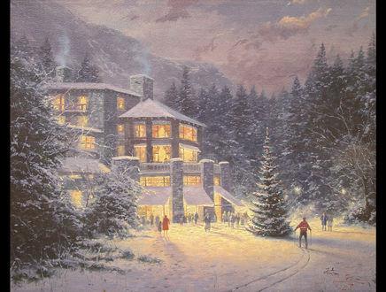 Обои Елка и люди возле дома перед Рождеством