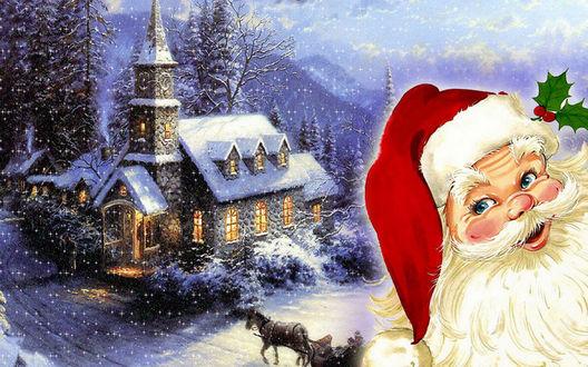 Обои Санта пришел на Рождество к дому с огнями в снегу