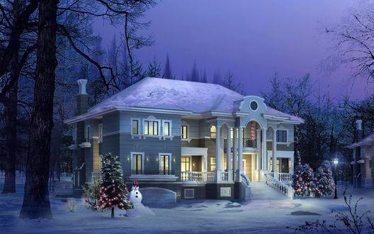Обои Дом стоит в феолетовом лесу, готовый к Рождеству с елками