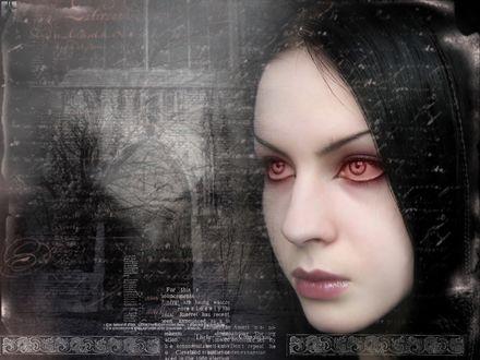 Обои Готическая девушка с красными глазами зимой на фоне замка