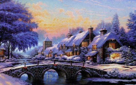 Обои Дома около речки с мостом зимой в Рождество
