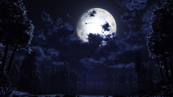 Обои Санта Клаус на фоне Луны спешит на оленях на Рождество