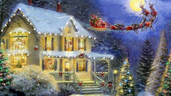 Обои Санта прилетел к дому и привез подарки детям
