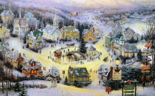 Обои В центре деревне среди заснеженных гор и деревьев люди празднуют Рождество