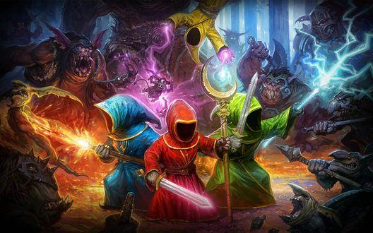 Обои Фрагмент видеоигры Magicka, четверо магов из духовного ордена сражаются против злого волшебника Гримнира и его созданий