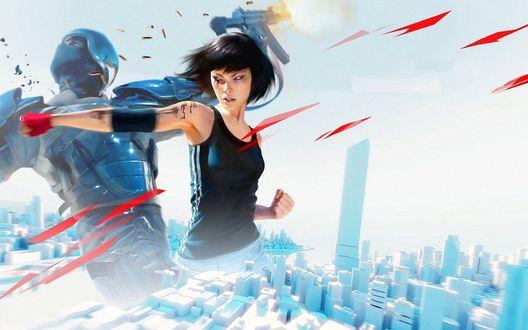 Обои Девушка Фэйт в фрагменте кроссплатформенной компьютерной игры Зеркальная грань: Катализатор / Mirror's Edge: Catalyst