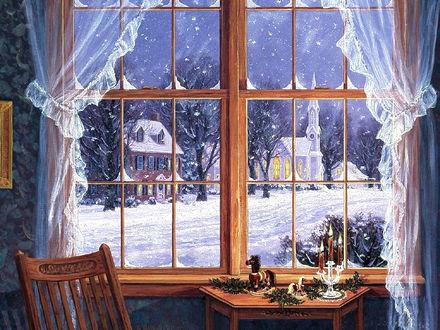 Обои Зимний пейзаж из окна дома перед Рождеством