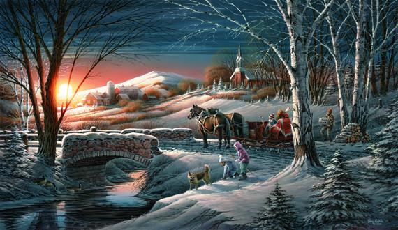 Обои В Рождество лошади привезли детей домой. Дети играют с собакой