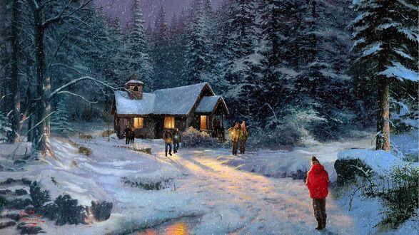 Обои Дети гуляют в лесу около дома в рождество
