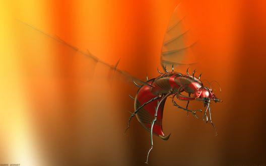 Обои Металлический комар робот на оранжевом размытом фоне