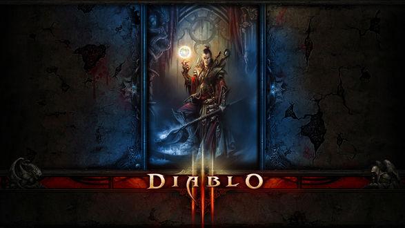 Обои Diabolo обои с рыцарем с фаербоолом и мечем в арке
