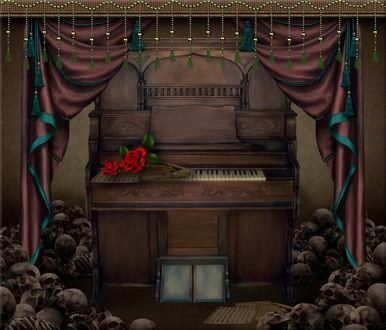 Обои Пианино с розами среди черепов