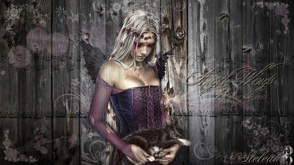 Обои Девушка ангел с котиком. Victoria Frances art