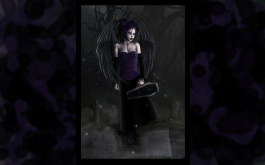 Обои Готическая девушка на кладбище с сумкой-гробом
