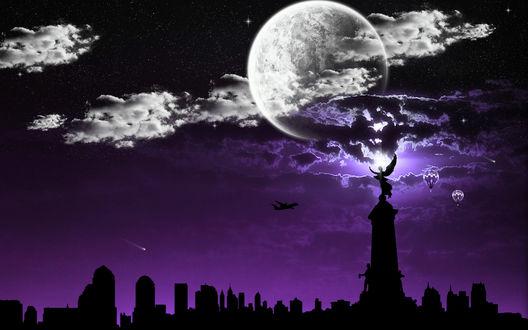 Обои Ангел, самолет и полная луна над городом