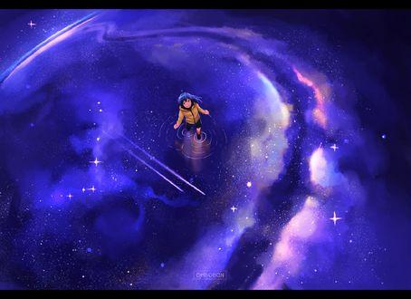 Обои Девочка стоит в воде под звезднмм небом
