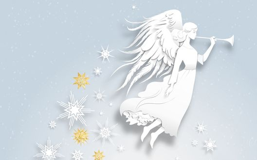 Обои Ангел с трубой и снежинки, светлые тона