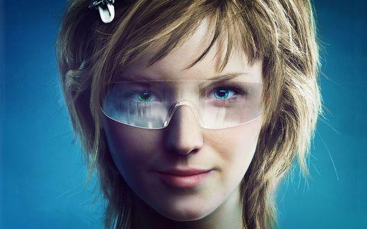 Обои Синеглазая девушка в очках