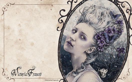 Обои Victoria Frances портрет дамы с бабочками и цветами в волосах