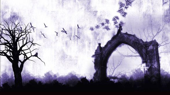 Обои Дерево и ворота с опавшими листьями и улетающими птицами