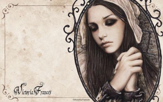 Обои Грустная готичная девушка на портрете. Victoria Frances art