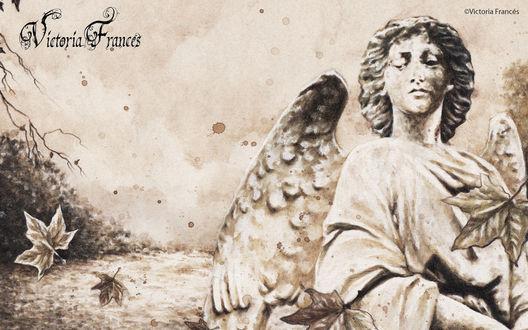 Обои Ангел и опавшие листья. Victoria Frances art