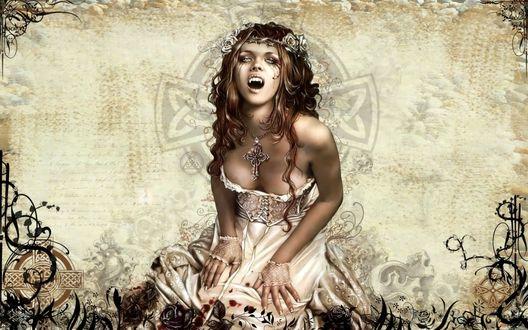 Обои Вампирша на фоне кельтского креста, by Victoria Frances