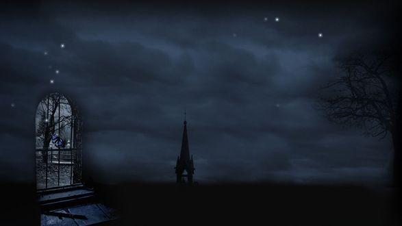Обои Окно с бабочкой и готический шпиль на фоне темного неба