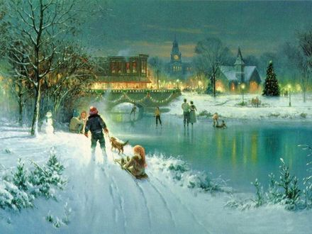 Обои Дети и взрослые гуляют возле замерзшей реки и моста