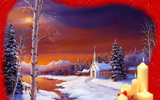 Обои Деревня в лесу в Рождество. Свечи и снег